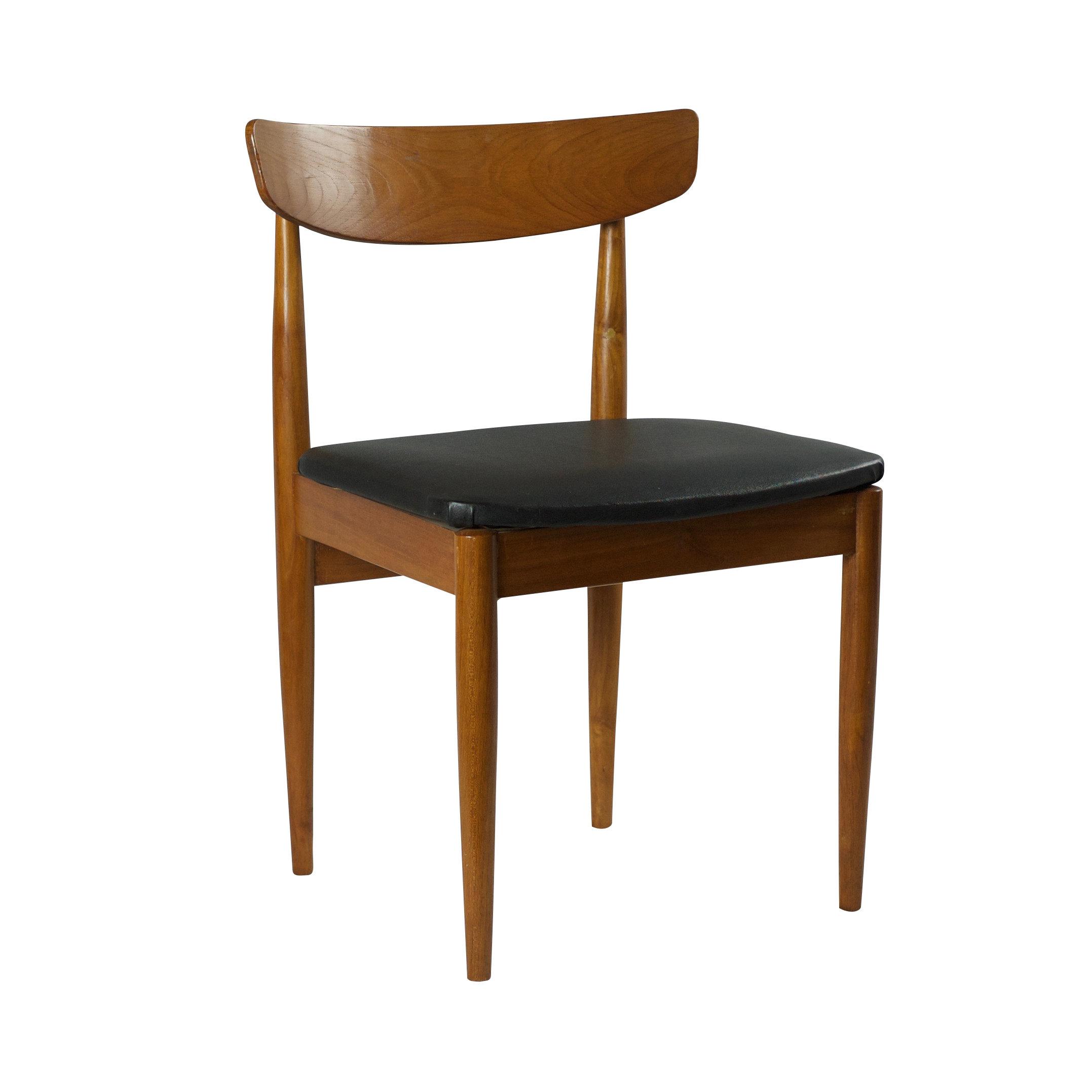 Vintage teak eetkamerstoel met gekromde rug en zwart skai ...