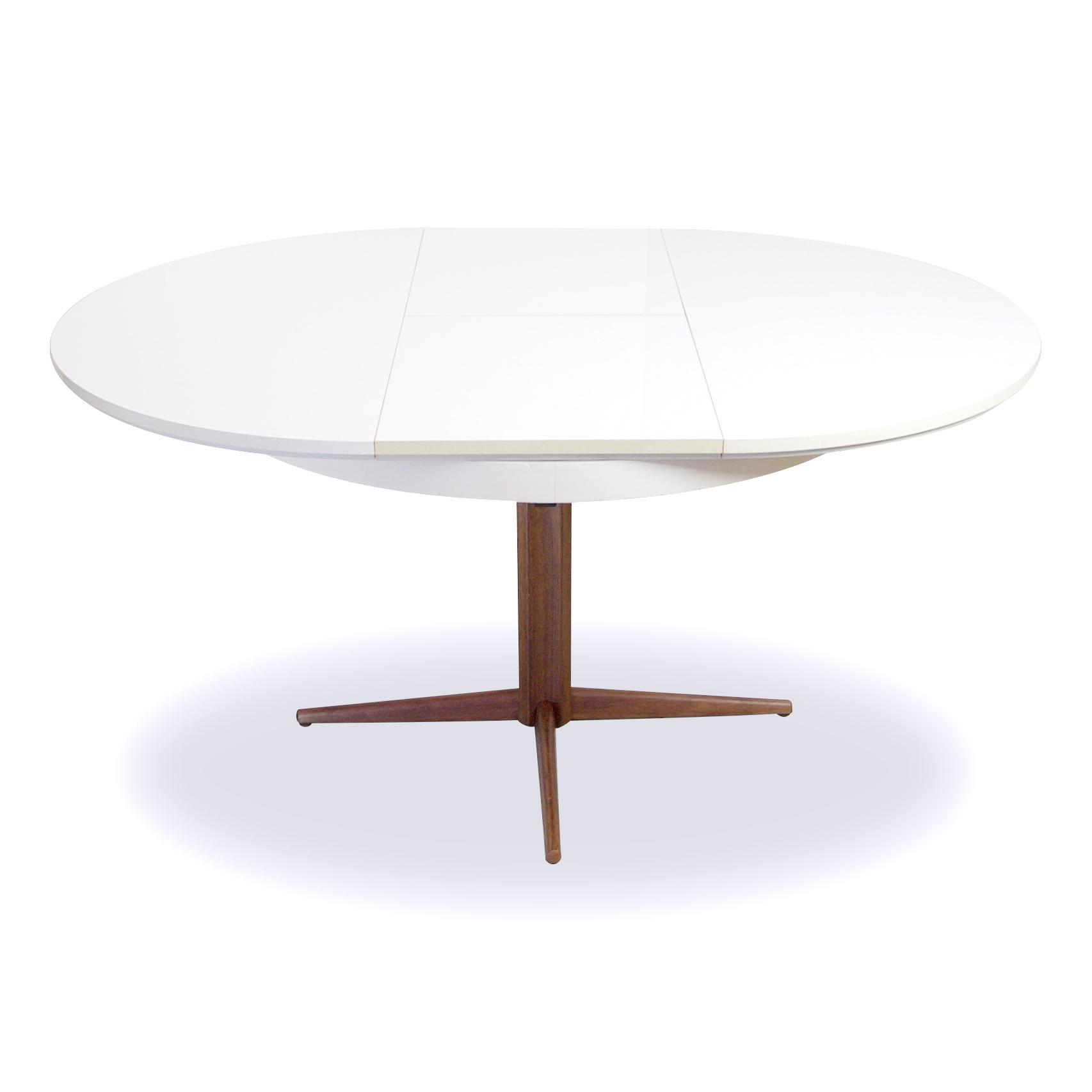 Design Witte Eettafel.Deens Design Ronde Eettafel Op Sterpoot Met Uitschuifbaar Blad